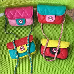 Discount kids mini messenger purses bags - Kids Designer Handbags 2019 Fashion Girls Mini Princess Purses Fashion Patchwork Colors Coin Purses High Quality Chain S