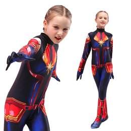 Wholesale carnival clothes for kids online – ideas Halloween Cosplay Costumes for Kids Carnival Superhero Clothes Jumpsuits Girls Captain Onesies Rompers Party Costume Kids Clothing M688