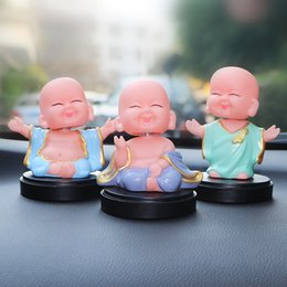 Shake boxeS online shopping - Car Decoration Little Buddha Statue Shake The Head Monks Fragrance Box Handicraft Ornament Automobiles Interior Dashboard Gift