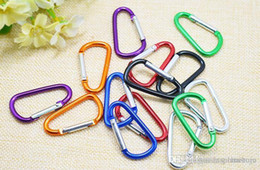 Wholesale htsportsstore Wholesale--4.6cm D shaped Aluminium alloy carabiner key ring for outdoor 100pcs lot Free shipping