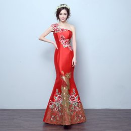 Wedding Bride Dress Chinese Australia - RED Mermaid Tail Asian Style Short Sleeve Fashion Embroidery Bride Wedding Qipao Long Cheongsam Chinese Traditional Dress Retro