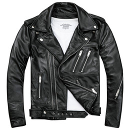Wholesale mens fashion leather jacket resale online - Mens Black Biker Leather Jackets Coats Double Diagonal Zipper Cowhide Slim Fit Short Motorcycle Coats Male Tops
