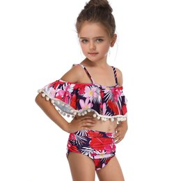 match clothing mom baby Canada - Children's swimsuit new fashion print two piece swimsuit matching swimsuit clothing 2020 mom amp baby girl swimwear summer