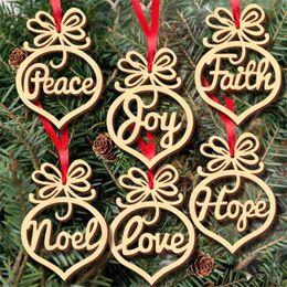 $enCountryForm.capitalKeyWord Australia - Christmas letter wood Heart Bubble pattern Ornament Christmas Tree Decorations Home Festival Ornaments Hanging Gift, 6 pc per bag