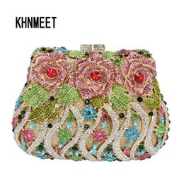 diamante clutches NZ - Luxury crystal clutch evening bags Rose flower sparkly women diamante bag colorful wedding banquet handbags prom bag SC040 #43978