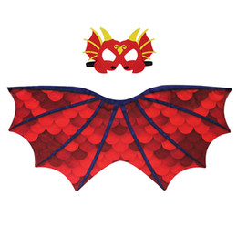 $enCountryForm.capitalKeyWord UK - Child Cosplay Cloak Mask Dinosaur Wing Mantle Boy And Girl Pterosaur Printing Cape Chiffon Comfort Colorful 24 9dj C1
