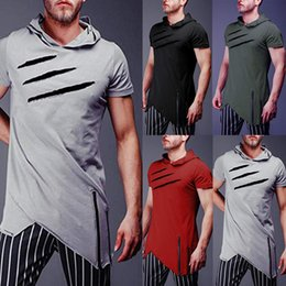 manga corta con capucha de verano al por mayor-Camiseta con capucha para hombre Summer Muscle Short Sleeve Sports Plain Casual Hooded Tops