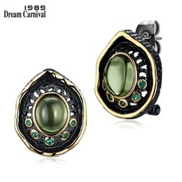 black gothic earrings NZ - Dreamcarnival 1989 Transparent Green Bead Stud Earrings For Women Black Gold Color Vintage Gothic Green Zirconia Pendientes T7190617