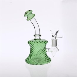 Two Bowl Bongs Australia - Green Yellow Glass Bongs 16cm Tall Bowl Joint 14.4mm Mini Bong Water Pipes Two Fuction Inline Percolator Smoking Water Pipes