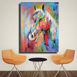 $enCountryForm.capitalKeyWord NZ - High Quality Handpainted & HD Print Modern Abstract Animal Art Oil Painting Colorful Horse On Canvas Wall Art Home Office Decor a08