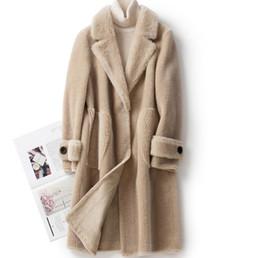 Wholesale ship real fur jackets resale online - New natuarl sheep fur coat women real wool jacket new fashion Sheep shearing overcoat plus size F128