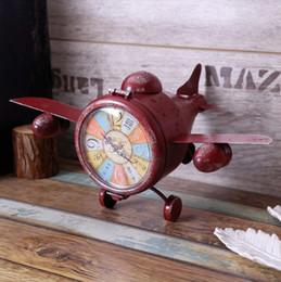 chic model 2019 - Creative Clock Watch Retro Vintage Clock Aircraft Model Bar Decoration Pendulum Member Reloj Vintage Decor Tafelklok Sha