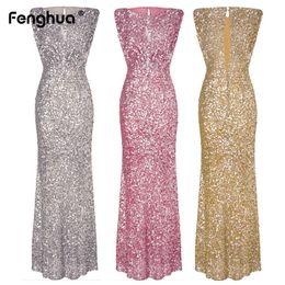 Women s gold dress online shopping - Fenghua Sexy Slim Sequined Dress Women Formal Long Summer Dress Female Elegant Sleeveless Club Evening Party Maxi Dresses