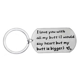 wholesale dog lover gifts NZ - 12 Pc Lot I Love You With All My Butt Keychain Dog Tag Keyring Lovers Husband Wife Boyfriend Girlfriend Key Chain Key Ring Gift