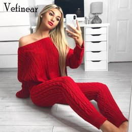 white sweater crop top 2019 - Vefinear New Long Sleeve Crop Tops And Legging Two Piece Sets Women Sweater Autumn Winter Streetwear Knitting Warm Women