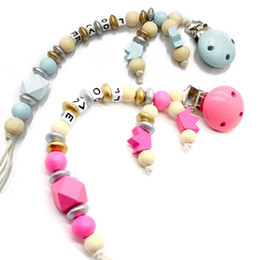 pacifier chains NZ - Baby Pacifier Clip Chain Wooden Holder Soother Pacifier Clips Leash Strap Nipple Holder For Infant Feeding