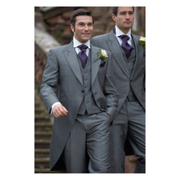 $enCountryForm.capitalKeyWord NZ - Vintage Gray Groom Tailcoat 2019 Groomsmen Suits Slim Fit Peaked Lapel Wedding Suits For Men Custom Made (Jacket+Pants+Tie+Vest)