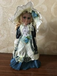 $enCountryForm.capitalKeyWord Australia - 12.5 inch Elegant Victorian Porcelain Doll with Stand Girl with Hat People Figures in flower Dress Gift 6#