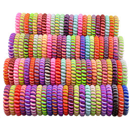 Hair gums online shopping - Telephone Wire Cord Gum Hair Tie Girls Elastic Hair Band Ring Rope Candy Color Bracelet Stretchy Scrunchy LJJA2700