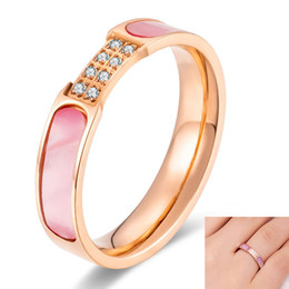 $enCountryForm.capitalKeyWord NZ - fashion Design Rose Gold Color cubic zirconia ring stainless steel pink Shell Wedding Rings For Women Engagement Gifts jewelry