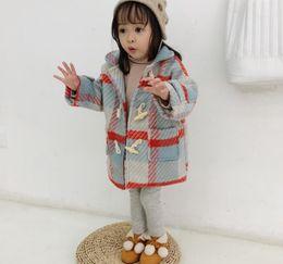 cat1998 automne et manteau en coton à carreaux couleur des bonbons vêtements pour enfants hiver laine bébé au chaud fille douce en Solde