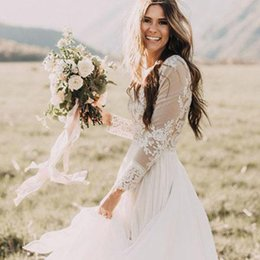 $enCountryForm.capitalKeyWord Australia - New Long Sleeve Wedding Dress 2019 Robe De Mariee Vintage Lace Top Wedding Dress Luxuriant Chiffon Wedding Dress