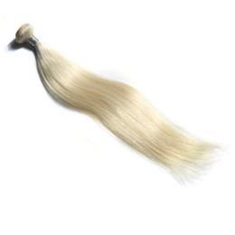 dyed hair bundles UK - Platinum Blonde Color Brazilian Straight Virgin Hair Bundles 100% Human Hair Weave 10-30 Inchs Unprocessed Remy Hair Extensions