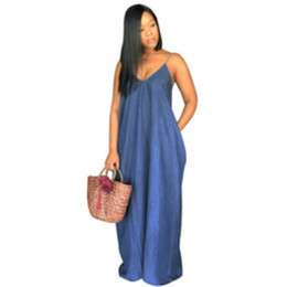 vestidos blue jeans NZ - 2020 Women Sexy Jeans Maxi Beach Dress Lady V-Neck Sleeveless Long Skirt Plus Size Floor-length Vestidos