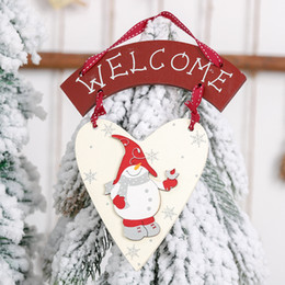 wall hanging signs Australia - Welcome Letter Christmas Wooden Tree Door Wall Hanging Plaque Sign Pendant Ornament Decoration Bedroom Home Hanging 1 Layer #LL