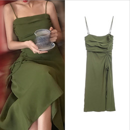 Wholesale Vintage pleated suspender skirt long section slim bottoming dark green wrapped chest dress A word skirt summer new style