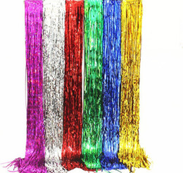 tinsel party decorations Australia - 1*3M Foil Tinsel Fringe Backdrop Decoration Tassel Garlands Wedding Photography Backdrop Birthday Party Decoration Supplies 6Colors