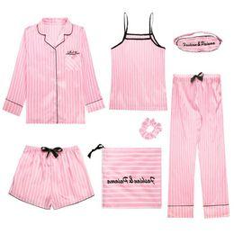 Spring Summer 7 Pcs Set Silk Elegant 2019 Women Pajamas Print Shorts Long Sleeve Top Elastic Waist Pants Full Lounge Sleepwear Y200107 on Sale