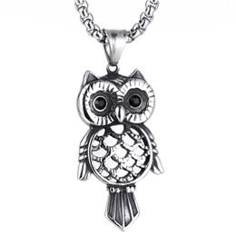 $enCountryForm.capitalKeyWord UK - Europe and America Titanium steel owl pendant for Men retro casting male black rhinestone owl animal pendant boy jewelry gift