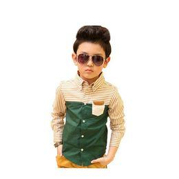 $enCountryForm.capitalKeyWord UK - Kids Striped Dress Shirts for Boys Fashion Cotton Patchwork Wedding Clothes Boys Formal Dress Shirts Boys Tops,