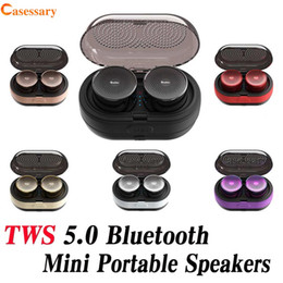 mini bluetooth speaker case Canada - TWS Mini Portable Bluetooth 5.0 Speakers Wireless Speaker Music Player With Charge Case and Retail Package