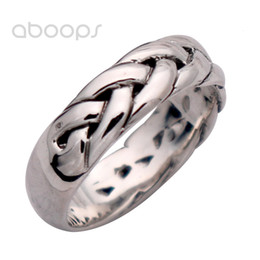 boys sterling silver rings NZ - 6mm Simple Plain Solid 925 Sterling Silver Woven Rope Ring for Men Boys Size 7.5 8 9 10 11 Free Shipping SH190927
