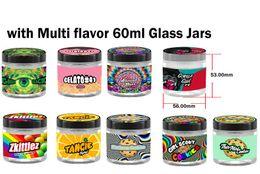 Venta al por mayor de 60 ml 3.5 gramos frascos de vidrio fármacos de menta delgada Gelato # 41 Grieta verde Flor Premium 3.5 gramos Embalaje de jarra de vidrio