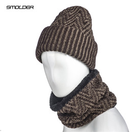 $enCountryForm.capitalKeyWord Australia - [SMOLDER] Winter Outdoor Hat Soft Warm Wave Pattern Beanie Cap Crochet Elasticity Knit Hats for Men and Women With Neck Warmer