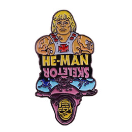Masters Figure Australia - He-Man skeletor flip pin retro 80s cartoon brooch Masters of the universe He-Man badge collection gift