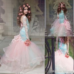 $enCountryForm.capitalKeyWord Australia - Gorgeous Pink Mermaid Flower Girls Dresses Lace Long Sleeves Tired Tulle Pageant Gowns for Little Girl Children Party Dresses Custom