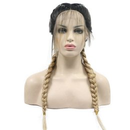 5d47a78c183ef9 Free Shipping Blonde Ombre Braided Synthetic Lace Front Wigs for Women Dark  Roots with Baby Hair Natural Braids Heat Resistant Fiber Hair