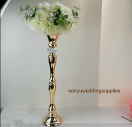 tall centerpiece vases wholesale Australia - New tyle Event decoration tall candelabra gold vase centerpiece wedding metal flower stand senyu0292