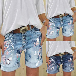 painting clothing Australia - Printed Mid Waist Button Pencil Pants Fashion Style Female Clothing Summer Women Designer Short Jeans Painted