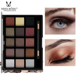 green eye shadow palette Australia - MISS ROSE 15 Color Eyeshadow Palette Long Lasting Shimmer Matte Eye Shadow with Brush Makeup Sombras De Ojos Professional
