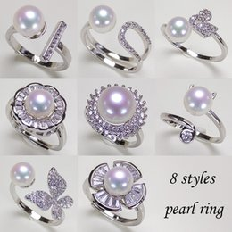 Real Natural Freshwater Pearl Ring Fashion 925 Silver Women Adjustable Zircon Ring Elegant Jewelry Wedding Gifts 8pcs lot on Sale