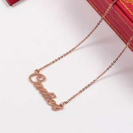 Pendant Letters Gold 18k Australia - 18K Rose gold plated letter Pendant Chain Necklace with Original box set Full Stainless steel Wedding Necklaces for Women