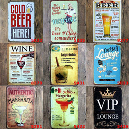 Decor Wholesale Signs NZ - Vintage Metal Tin Signs For Wall Decor Mojito Beer Iron Paintings 20*30cm Metal Signs Tin Plate Pub Bar Garage Retro Home Decoration