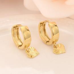 venda por atacado 18 k Solid Gold GF Coração gota Brincos Mulheres / Menina, Amor Moda jóias para a Europa Oriental crianças crianças melhor presente