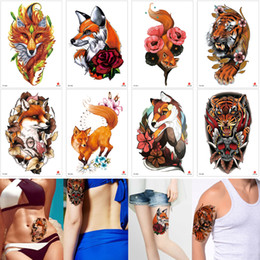 c629b4063 Cute Fake Orange Body Transfer Tattoo Tiger Fox Sticker Decal Waterproof for  Women Men Kids Best Temporary Tattoos Designs Paper Sexy Makeup