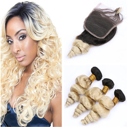 $enCountryForm.capitalKeyWord Australia - #1B 613 Blonde Ombre Brazilian Virgin Human Hair Wefts with Closure Blonde Ombre Loose Wave 3Pcs Bundles Deals with 4x4 Lace Front Closure